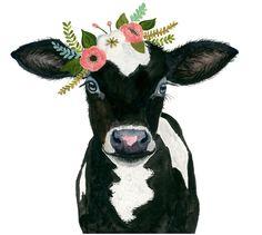 Vaca-ternero acuarela animales bebé vaca pintura babby