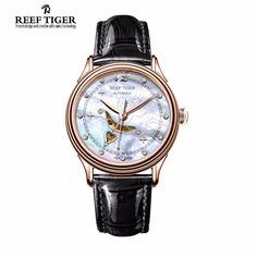US $298.00 - Reef Tiger/RT Designer Fashion Womens Watch with White MOP Dial Diamonds Automatic Watches with Calfskin Leather RGA1550