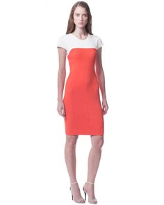 Narciso Rodriguez® Colorblock Dress - Cap sleeve fitted dress with color block detail