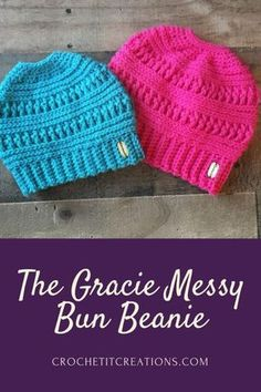 The Gracie Messy Bun Beanie Crochet Pattern by Crochet It Creations will be one of your favorite hats to keep you warm this winter. It is the sister hat to The Ana Beanie. Beanie Pattern Free, Crochet Beanie Pattern, Crochet Patterns, Crochet Hats, Hat Patterns, Crochet Messy Bun Hats, Crochet Ideas, Scarf Crochet, Blanket Crochet