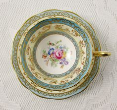 Royal Albert Tea Cup and Saucer Blue and Gold with Flowers, Vintage Bone China