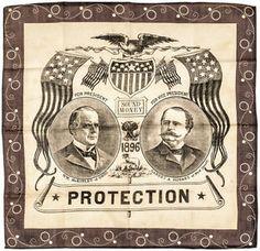 1896 Pres. Campaign Bandana, Sound Money Candidates McKinley and Hobart Lot 402  | eBay