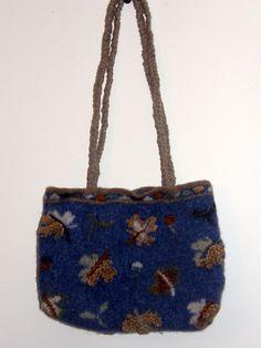 Ocean Blue Felted Tote Bag Purse brown by mcleodhandcraftgifts,