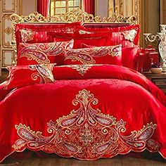 FADFAY Home Textile,Chinese Red Wedding Bedding Set,Peacock Print Bedding Set,Peacock Feather Bedding,Designer Bedding Bed Cover Design, Bed Design, Queen Bedding Sets, Comforter Sets, Wedding Bed, Red Wedding, Magical Wedding, Designer Bed Sheets, Royal Bedroom