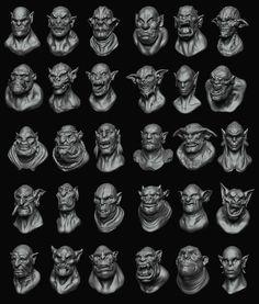 Daily sculpts 31-60 (orcs, ogres and trolls), Gustavo Zampieri on ArtStation at https://www.artstation.com/artwork/VKKD4