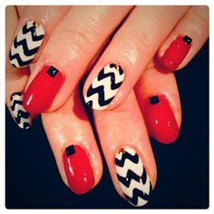 Red, Black, and White Studded Nails with Chevron Stripes, Soft Gel Design, Nail Art, Nail Trends, Gel Nails | NAILPRO