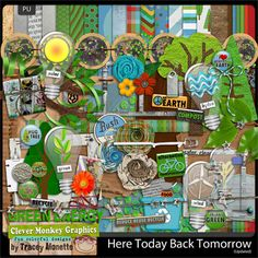 Here Today Back Tomorrow by Clever Monkey Graphics - Digital scrapbooking kits available through Oscraps, GingerScraps, or MyMemories