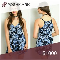 **New** Navy Floral Romper 100% Polyester Ultra spring romper features floral print all over and a sweetheart neckline, perfect with gladiators or heels.  Price firm Pants Jumpsuits & Rompers