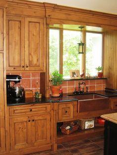 copper sink/knotty alder cabinets