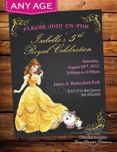 Beauty The Beast Belle Birthday Party Invitations Personalized