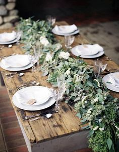 Rustic table runner Rustic - wedding centerpieces and table decorations Rustic Garden Wedding, Rustic Gardens, Sage Wedding, Olive Branch Wedding, Fern Wedding, Magnolia Wedding, Garden Weddings, Spring Weddings, Rustic Weddings