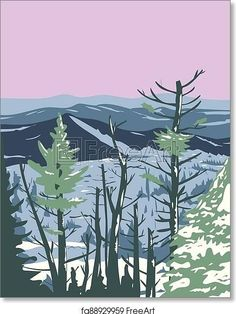 Great Smoky Mountains National Park during Winter in Tennessee and North Carolina United States WPA Poster Art - Artwork - Art Print from FreeArt.com