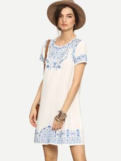 White Short Sleeve Embroidered Shift Dress