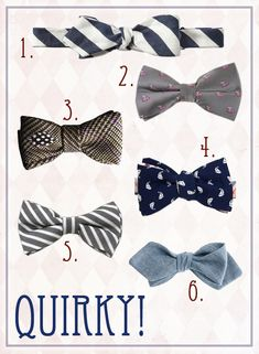 quirky-bow-ties via A Practical Wedding (http://apracticalwedding.com/2013/04/roundup-wedding-bow-ties/)