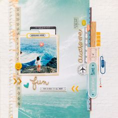 #papercraft #scrapbook #layout. Adventure by evelynpy. Love the big photo and the scrapping on the white space.