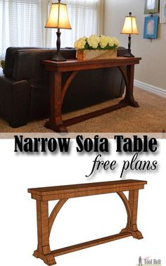 Free DIY plans to build a stylish narrow sofa table for about $30. #hightoptableswedding