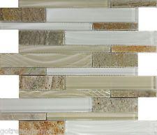 SAMPLE- Beige Cream Glass Natural Stone Linear Mosaic Tile Kitchen Backsplash