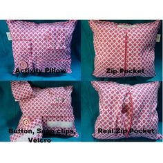 if you can sew a throw pillow pretty easy to add zippers, buttons, snaps, buckles and velcro for busy toddler hands