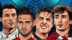 Caricaturia de Cristiano, Falcao, Dybala y Griezmann Cristiano, Champions League, Manchester United, Real Madrid, Monaco, Soccer, Football, Game, The League