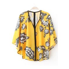 SheIn(sheinside) Yellow Batwing Short Sleeve Floral Loose Blouse ($14) ❤ liked on Polyvore