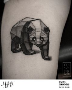 nice Animal Tattoo Designs - Geometric Panda Tattoo Design by Sven Rayen Panda Tattoos, Animal Tattoos, Cute Tattoos, Unique Tattoos, Small Tattoos, Geometric Bear Tattoo, Geometric Tattoo Design, Niedlicher Panda, Cute Panda