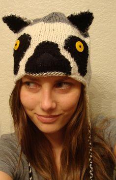 RING-TAILED LEMUR hand knit hat --- bobcathats. $34.00, via Etsy.