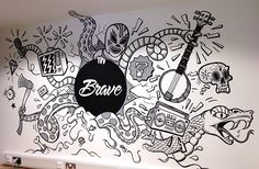 London-based creative agency Brave asked me to create a mural for one of their editing suites. It also happened to feature in the final of BBC ones The Apprentice. Office Mural, Office Wall Art, Office Artwork, Office Walls, Graffiti Wall Art, Mural Wall Art, Wall Paintings, Mural Cafe, Tattoo Studio