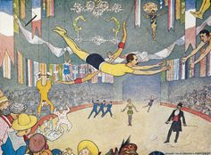 """Trapeze artists leap through space. Illustration by Elmer Boyd Smith from """"The Circus and all about it"""" published 1909 by Frederick A. Stokes Co. in New York"""