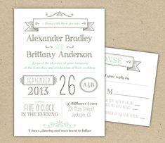 Printable Wedding Invitation. Modern invitation by Bejoyfulpaper