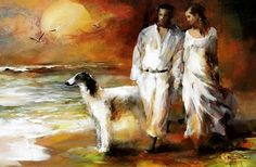 """Willem Haenraets,1940, Lovers and their Dog on a Beach.  """"I bet you could sometimes find all the mysteries of the universe in someone's hand.""""   (Benjamin Alire Sáenz, Aristotle and Dante Discover the Secrets of the Universe)"""