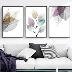Watercolor Abstract Leaves Canvas Painting Print Nordic Minimalist Poster Wall Art Pictures for Livi Diy Wall Art, Modern Wall Art, Framed Wall Art, Wall Art Decor, Wall Art For Bedroom, Living Room Wall Art, Clock Decor, Home Decor Wall Art, Living Rooms