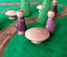 Waldorf Toy - Handmade Needle Felted Wool Trees - Painted Mushrooms Peg Dolls - Pretend Play Children Imagination Woodland Natural Miniature