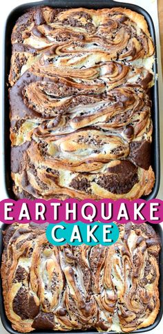 Earthquake Cake starts with a box of german chocolate cake mix, then add in coconut, chocolate chips, pecans, and a yummy cream cheese swirl! You don't have to frost this cake because the cream cheese mixture becomes a layer of frosting INSIDE the cake. It cracks open after baking, resulting in the name - Earthquake cake! One of the best cakes to serve for a party. #earthquakecake #cake #cakedoctor Cake Mix Desserts, Easy Desserts, Delicious Desserts, Dessert Recipes, Yummy Food, Cheesecake Recipes, Dessert Ideas, Cake Ideas, Tasty