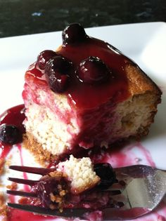 "Paleo Italian Lemon Ricotta ""Cheese""cake with Blueberry Sauce  #PrimalBliss"