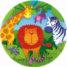 Amazon.com: Jungle Animals 9in Round Plates: Toys & Games