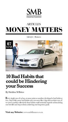 10 Bad Habits that could be Hindering your Success Financial Planner, Bad Habits, Money Matters, Life Is Good, Finance, Success, Business Entrepreneur, Motivation, Lifestyle