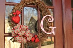 Valentine chevron initial wreath by DoorDecor4U on Etsy, $45.00
