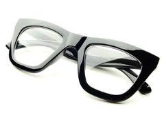 e3f9c0266a3 Vintage Retro Style Clear Lens Thick Framed Cat Eye Wayfarer Glasses  (Black) Wholesale Sunglasses