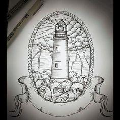 Phare #LighthouseTattoo #Lighthouse #AmiralTattoo #Sailor #Drawing #TattooDrawing #Blackworker #Blackworker #Engraving #BlackAndWhite #TattooArtWork #NauticalTattoo
