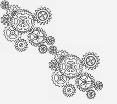Gears biomechanical (steampunk) tattoo stencil 18 (click for full ...