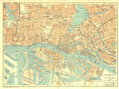 1925 Hamburg and Altona City Plan at CarambasVintage