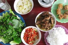 Bun Cha Bun once refers to the rice noodles, and Cha to the marinated char-grilled pork (center)