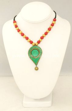 Terracotta Red and Green Dots Necklace and Earring Set
