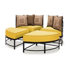 The San Michele Round Sectional Set  with Pillows has sleek lines and refined curves that give it a contemporary European flair.