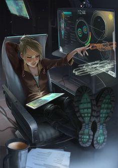 Pilot or engineer on a spaceship at work, character inspiration ArtStation - Space Girl, Wyn Lacabra Sci Fi Kunst, Cyberpunk Kunst, Cyberpunk Girl, Cyberpunk 2077, Cyberpunk Anime, Cyberpunk Fashion, Character Concept, Character Art, Concept Art
