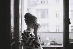 Early mornings / tea / zen / striped shirts / printed tees / hair buns / black and white photography / home