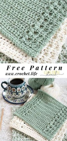 Simple and easy dishcloth pattern full of crochet texture makes a perfect DIY crochet project for your kitchen or bath. Free crochet pattern by Golden. Diy Crochet Projects, Diy Crochet Patterns, Crochet Diy, Crochet Gratis, Crochet Home, Crochet Dishcloths, Crochet Kitchen, Shabby, Couture