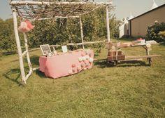 Outdoor weddings, apple orchard weddings, guest book tables, DIY coffee filter flowers. @karlenegray August 24, Apple Orchard, Outdoor Weddings, Diys, Filter, Tables, Coffee, Book, Flowers