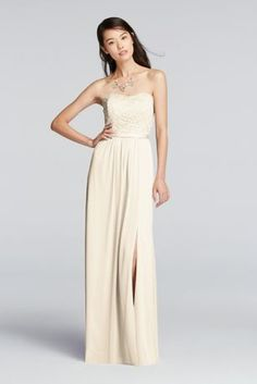 Our lace/mesh combination styles, like this long strapless bridesmaid dress with a lace bodice and mesh skirt, blend beautifully with both all-mesh and all-lace dresses. A side-slit adds drama to the floor-length look.   Light weight mesh skirt with front slit allows for extra movement  Lace bodice and Grosgrain ribbon add to the soft elegance of this dress.  Fully lined. Zipper Back. Imported polyester. Dry clean only.  Also available in Extra Length sizes as Style 4XLF18095. To protect…