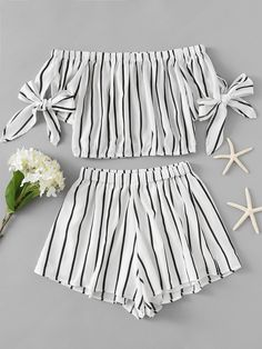 outfits Bardot Striped Bow Tie Sleeve Crop Top With Shorts Cute Girl Outfits, Cute Summer Outfits, Cute Casual Outfits, Pretty Outfits, Girls Fashion Clothes, Teen Fashion Outfits, Outfits For Teens, Girl Fashion, Jugend Mode Outfits